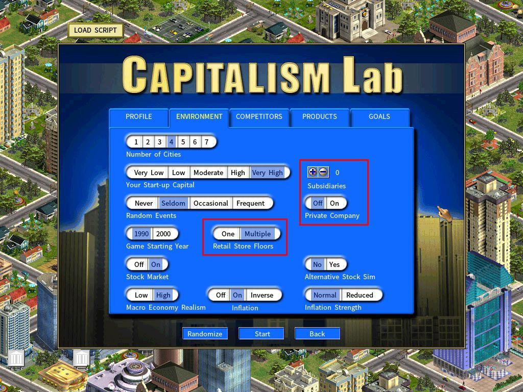 Subsidiary DLC new game setting