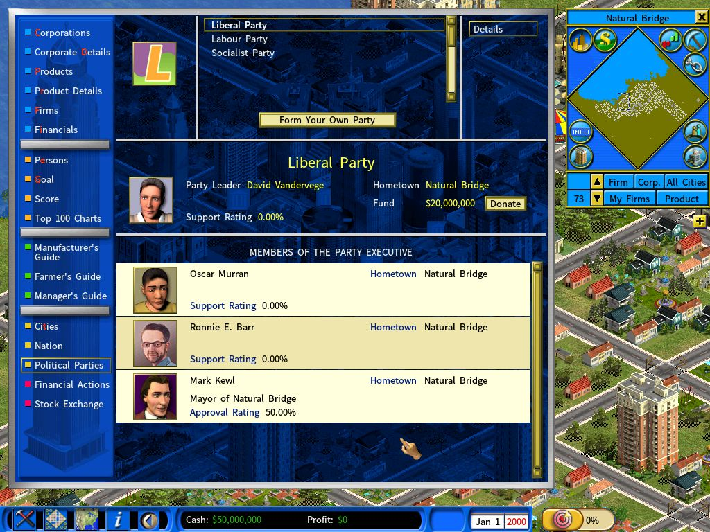 Political Party screen is accessible from the Information Center