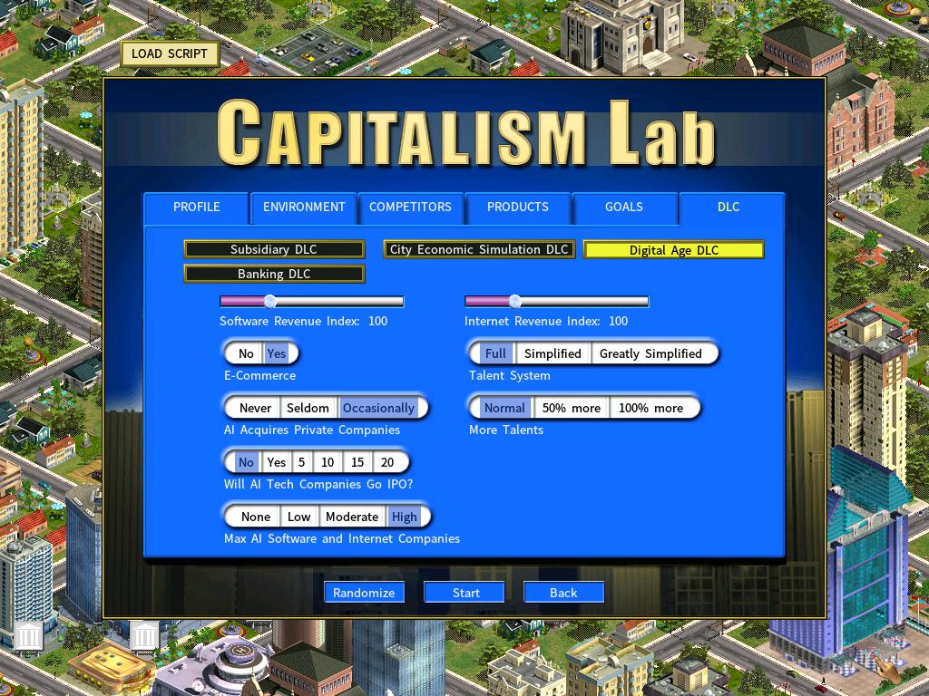 Digital Age New Game Settings - Capitalism Lab